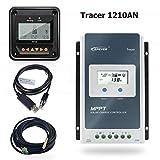 EPEVER 10A MPPT Regulador de Carga Solar 12V/24V Regulador Inteligente de Carga Solar con Medidor Remoto MT50 y Sensor de Temperatura y Cable RS485 - Set Tracer 1210AN