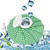 QcoQce Kühlbeutel, Befüllbar Eisbeutel Wärmflasche,Geeignet für Knie, Schulter, Kopf und Sportverletzungen Wiederverwendbar Kühlbeutel für Kinder und Erwachsene (L, Grün Plaid)