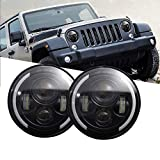 Ricoy DOT Approved,7 Inch 40W LED Projector Headlight Hi/Lo Beam With Yellow Halo Ring Angel Eyes DRL For Wrangler JK TJ LJ CJ davidson Motorcycle(Pack of 2)