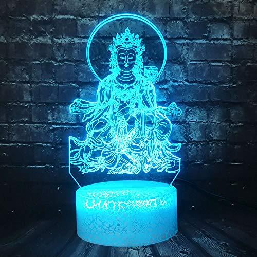 LED Nachtlicht Religion Glaube 3D Beliebte Tausendhand Guanyin Buddha Lampe Home Decoration Riss Illusion Stimmung Urlaub Freunde Geschenk