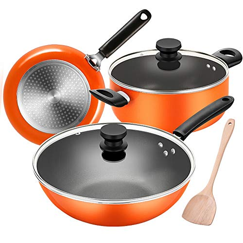 Frituurpan Family Essentiele Nonstick Cookware Set Wok Pan Cooker Gasfornuis Open Flame Universal Keukengerei 3pcs (Color : Orange, Size : One size)