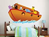 Noah's Ark Wall Decal - Baby Boy Girl - Colorful Design Mural Wall Decal Sticker For Home Car Laptop (Wide 57' x 36' Height)