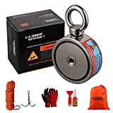 ULIBERMAGNET Double Sided Fishing Magnets Super Strong,Combined 880lb N52 Neodymium Magnet Fishing Kit Starter with Rope,Claw,Gloves,Threadlocker for Magnetic Fishing and Treasure Hunting Under Water