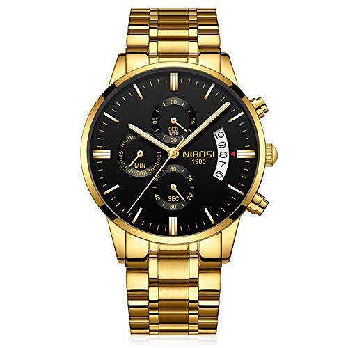 NIBOSI Herren Uhren Casual Chronograph Quartzuhr, Multifunktionale Militär Sport Männer Armbanduhr, Wasserdicht Edelstahl Armbanduhr mit Datumsanzeige