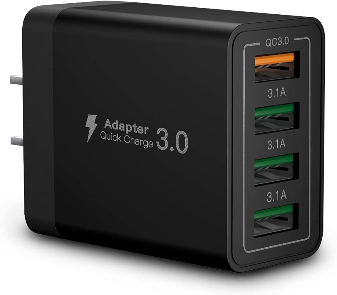 USB Wall Charger Block,Aioneus 40W 4-Port Charging Block,QC 3.0 Fast USB Wall Plug for iPhone Xs/XS Max/XR/X/8/7/6,Tablets,Charging Cube with Galaxy/Note/Edge,LG,Nexus,HTC,Google Pixel,and More