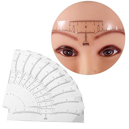 20pcs mesure de sourcil permanente jetable souverain règle autocollant tatouage shaper outil de maquillage pochoir