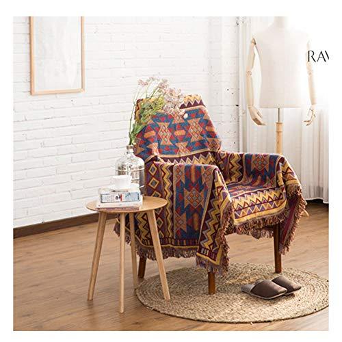 YAOTT Housse de Coussin de canapé antidérapante, Jacquard de Style Ethnique Couverture de Serviette Jeté de Canapé Tricotée Tapis de Salon Franges décoratives pour Chaise-lit 1 130 * 180cm