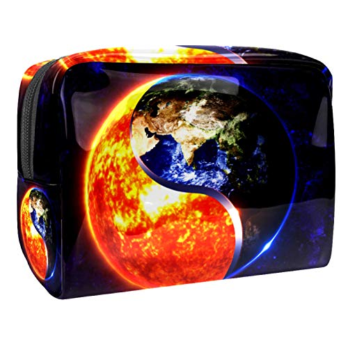 3D Yin Yang Sun Earth 7.3''x3''x5.1'' Wash Bag Cosmetic Organizer Pouch Toiletry Wash Bag Portable