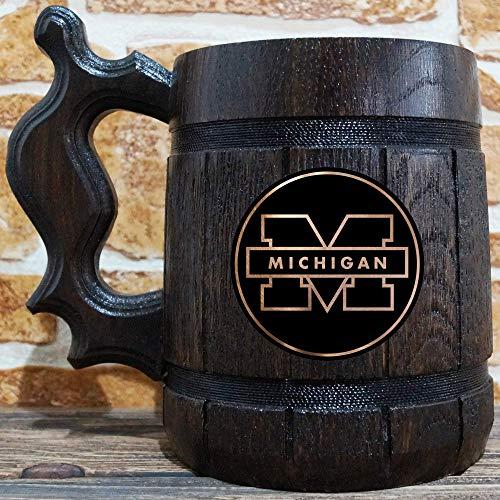 University of Michigan Beer Mug, Wooden Beer Stein, Sport Gift, Personalized Beer Stein, University of Michigan Tankard, Custom Gift for Men, Gift for Him