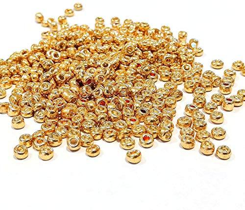 6500 perline in vetro da 2 mm, colore metallizzato, set da 11/0, perline per pony, mini perline per bambini, perline per bambini, perline di Seed Beads, colori assortiti (oro)