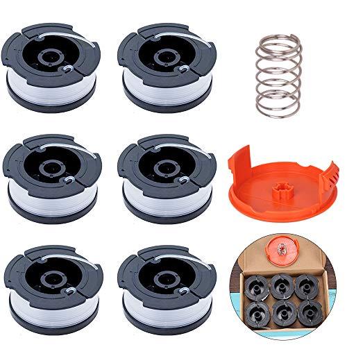 ManLee 6pcs Fadenspulen für Black und Deck Rasentrimmer Ersatz Spulen mit Spulenabdeckung und Feder Einzelfadenspule für Black+Decker Trimmer STC1820CM STC1840EPC usw.