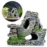 BOBEINI Vista a la montaña Acuario Roca Cueva Árbol Puente Pecera Ornamento Decoración Rocosa