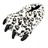 Ibeauti Animal Paw Plush Slippers Monster Feet Claws Stuffed Fuzzy Animal Slippers Fit for Ladies Teens (Grey Leopard Print)