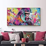wZUN Graffiti Art Lienzo Pintura Pared Arte Carteles e Impresiones Animal Pared Arte Lienzo Fumar Gorila Imagen decoración de la habitación 50x100 cm