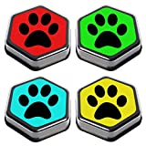 Talking Products, Recordable AAC Talking Sound Buttons for Dogs and Cats Training, 80 Seconds Recording, Pack of 4, Black. with Removeable Clear Cover.
