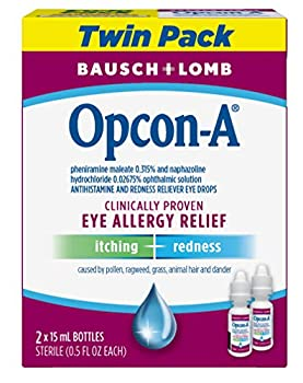 Allergy Eye Drops by Bausch & Lomb for Itch & Redness Relief 15 mL  Pack of 2  Packaging May Vary