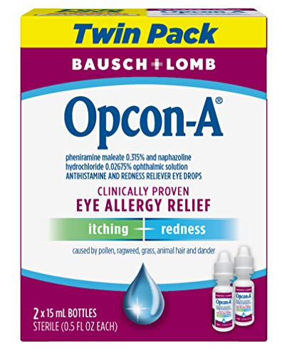 Bausch + Lomb Opcon-A Allergy Relief Eye Drops, 0.5 Ounces/15 mL (Pack of 2) Packaging May Vary