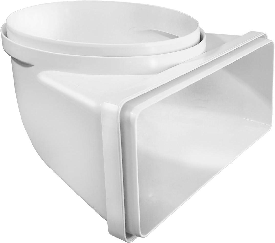 La Ventilación CGV229B Curva vertical de tubo redondo ø 150 mm a rectangular 220 x 90 mm en ABS. Color blanco.