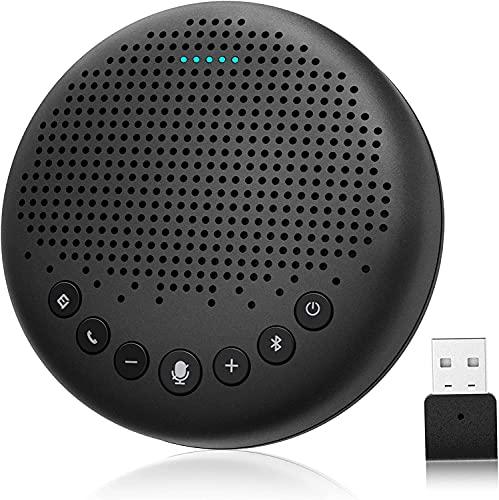 eMeet Bluetooth Konferenzlautsprecher - Luna USB Freisprecheinrichtung für 5-10 Personen, Speakerphone 360° Spracherkennung, mit Dongle, für Zoom, Skype, VoIP-Kommunikation PC, Skype for Business usw.
