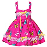 Baby Girls Sleeveless Boho Flower Dress Fruit Printed Casual Children Halter Holiday Dress Toddler Baby Lace Strap Party Clothing Summer Floral Beach Kids Sundress Butterfly Hot Pink 11 1-2 Years