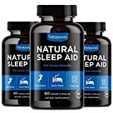 Natural Sleep Aid with Melatonin – 60 Count (Pack of 3) GABA and Valerian Root   Passion Flower & Hops   Skullcap & Chamomile   Supplement for Adults to Fall Asleep Fast – Sleeping Pills Alternative