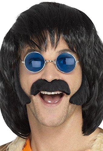Smiffys Kit disfraz de hippie, negro, con patillas y bigote