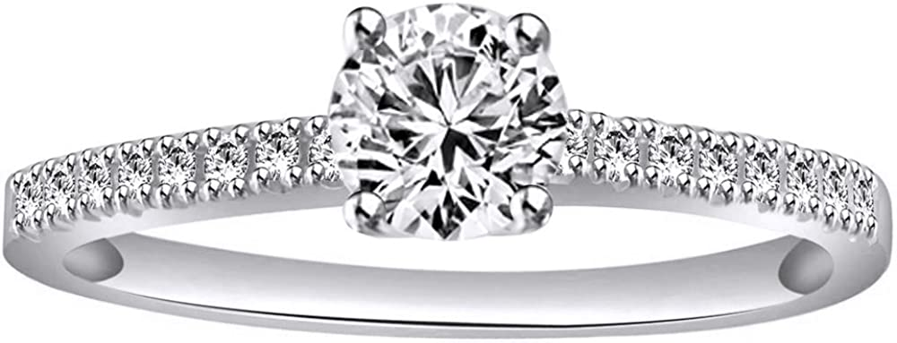 AFFY White Natural Diamond Halo Vintage Style Engagement Ring in 14k Solid White Gold (0.41 Ct)