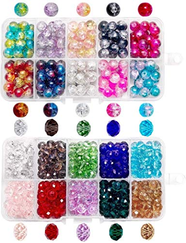 QUEFE 400pcs Crystal Glass Beads Including 200pcs 8 x 6mm Faceted Crystal Glass Beads and 200pcs 8mm Crackle Lampwork Glass Round Beads for Jewelry Making Bracelets Necklaces(2 Box)