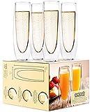 Flute da champagne in vetro, set di 4 bicchieri da vino spumante senza stelo da 141,7 g, calici da vino Mimosa per matrimoni, feste di damigella d'onore e docce nuziali, Eparé