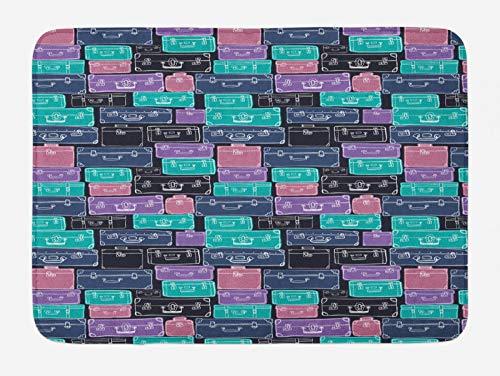 ABAKUHAUS Alfombrilla de baño de viaje, colorida, con diseño de camión dibujado a mano, felpudo de baño con parte trasera antideslizante, 45 cm x 75 cm, azul marino oscuro, morado y rosa pálido