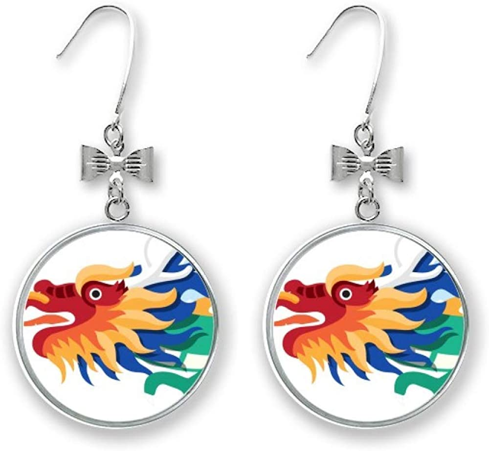 High quality new China Dragon Traditional Culture Art Pattern Drop Earrings Bow Bombing new work S