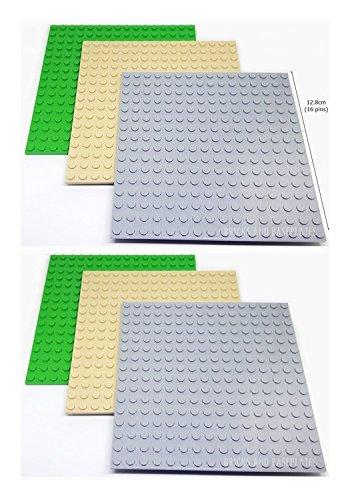 LEGO 6 placas de perno de 16 x 16, 2 x TAN 2 x GRIS 2 x PLATAS DE base VERDE Dimensiones reales 12,8 cm x 12,8 cm x 0,5 cm