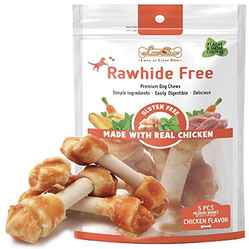 LuvChew Premium Chicken Dog Chew Bones, Rawhide Free, Grain Free, Made with Real Chicken & Wholesome Vegetables, Medium 5pcs/Pack