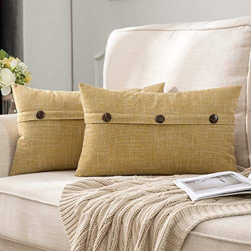 MIULEE Set of 2 Decorative Linen Throw Pillow Covers Cushion Case Triple Button Vintage Farmhouse Pillowcase for Couch Sofa Bed 12 x 20 Inch Yellow