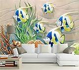 Papel Pintado Mural Grande Personalizado 3D Relieve Costero Peces De Colores Algas Coral Sofá Sala De Estar Papel Tapiz De Fondo-350 * 245Cm
