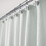 mDesign Luxus Duschvorhang – weicher Badewannenvorhang mit Waffelmuster – leicht zu pflegener Duschvorhang – Hellblau/Aqua