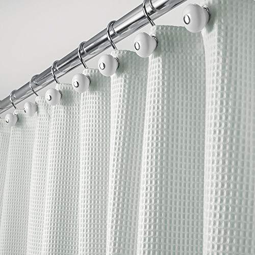mDesign Tende Bagno in Tessuti Misti – Tende per Doccia Eleganti e raffinate con Motivo a Nido d'Ape – Tenda per Vasca da Bagno Facile da Lavare – Verde Acqua
