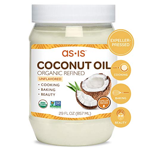 Organic Refined Coconut Oil for Cooking, Baking & Beauty | Neutral Flavor & Aroma | Expeller-Pressed | 29 fl oz | by as-is