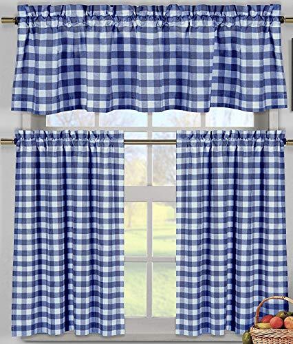lovemyfabric Poly Cotton Gingham Checkered Plaid Design 3-Piece Kitchen Curtain Valance Window Treatment Set (Royal Blue)