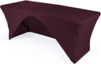 LA Linen Open Back Spandex Tablecloth for a 8-Foot Rectangular Table, 96 by 30 by 30-Inch, Eggplant