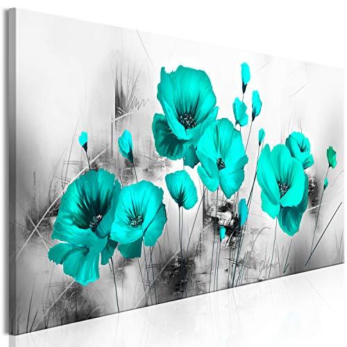 murando - Cuadro en Lienzo Flores Amapolas 120x40 cm Impresión de 1 Pieza Material Tejido no Tejido Impresión Artística Imagen Gráfica Decoracion de Pared - Turquesa Gris b-A-0510-b-a