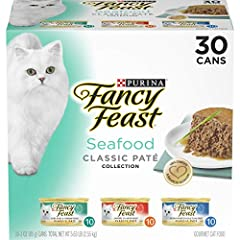 Thirty (30) 3 oz. Cans - Purina Fancy Feast Grain Free Pate Wet Cat Food Variety Pack, Seafood Classic Pate Collection 100% complete and balanced gourmet canned cat food Contains three different wet cat food recipes for added variety in your cat's di...