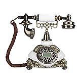 ASHATA Teléfono Vintage Fijo,Teléfono Antiguo de Sobremesa,FSK/DTME,Identificador de Llamadas,Remarcar,Trueno-Prueba, IP y Función P/T,Calendario Electrónico(Madera Clasica)