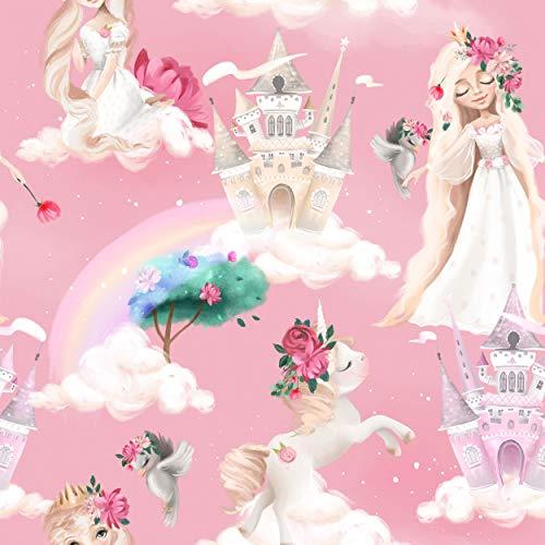 decomonkey Fototapete Kinder Kinderzimmer | Tapetenrolle 10 m Tapete Vliestapete Deko Panel Modern Design Wanddeko Wandtapete | Schloss Prinzessin Einhorn rosa Blumen