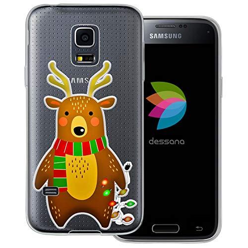 dessana - Cover trasparente per Samsung Galaxy S5 Mini, motivo: orsetto natalizio