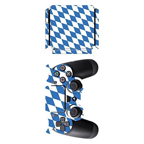 Disagu SF-sdi-5545_736 Design Folie für Sony PS 4 Slim und Controller Motiv Bayern-Flagge klar