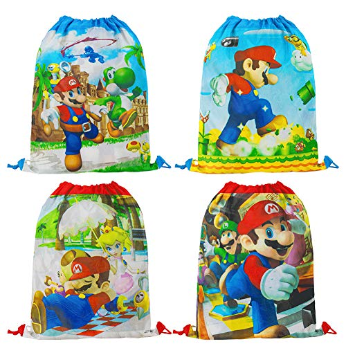 Labeol Super Mario Drawstring Party Bags 12pcs Kids Birthday Party Gags Super Mario Party Supplies Goodie Bags Kids Drawstring Bag Gift Pouches for Children Party Cute Backpack Gifts Bags (style 1)