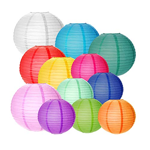 Belec 12 Paper Lanterns High Quality Rice Paper Chinese Round Hanging Lantern | Perfect Sizes 12' 10' 8' | Weddings, Birthday Party, Anniversaries, Baby Showers, Decorations for All Occasions