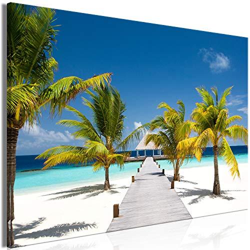 murando - Bilder Meer Strand 120x80 cm Vlies Leinwandbild 1 TLG Kunstdruck modern Wandbilder XXL Wanddekoration Design Wand Bild - Landschaft Tropische Insel Palmen c-B-0539-b-a
