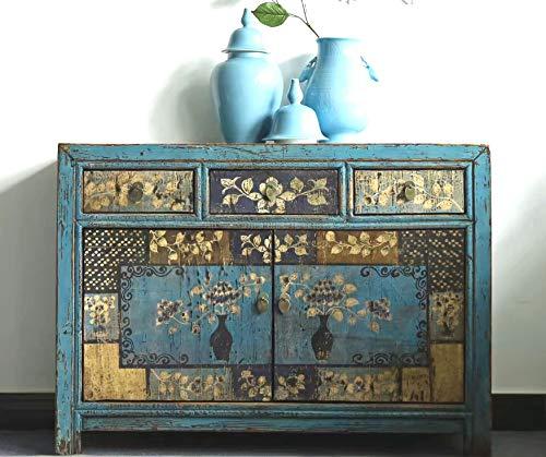 OPIUM OUTLET Aparador Comoda de Noche chifonier Chino, para dormitorios, Azul Antiguo Vintage Asiatico Shabby-Chic Madera
